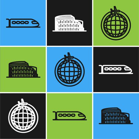 Set line Train, Globe with flying plane and Coliseum in Rome, Italy icon. Vector