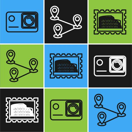 Set line Action extreme camera, Postal stamp and Coliseum and Route location icon. Vector