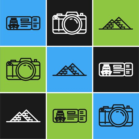 Set line Cruise ticket for traveling by ship, Egypt pyramids and Photo camera icon. Vector