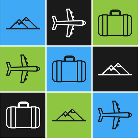 Set line Mountains, Suitcase for travel and Plane icon. Vector