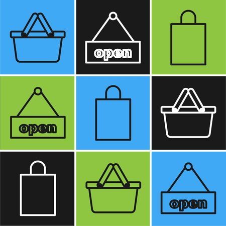 Set line Shopping basket, Paper shopping bag and Hanging sign with text Open door icon. Vector