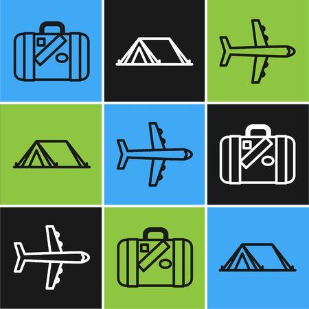 Set line Suitcase for travel and stickers, Plane and Tourist tent icon. Vector Illusztráció
