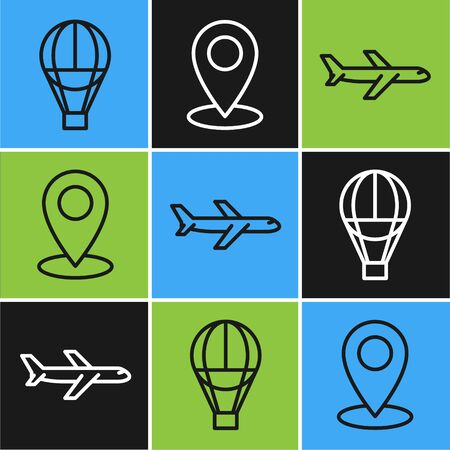 Set line Hot air balloon, Plane and Map pin icon. Vector