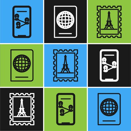 Set line Infographic of city map navigation, Postal stamp and Eiffel tower and Passport with biometric data icon. Vector