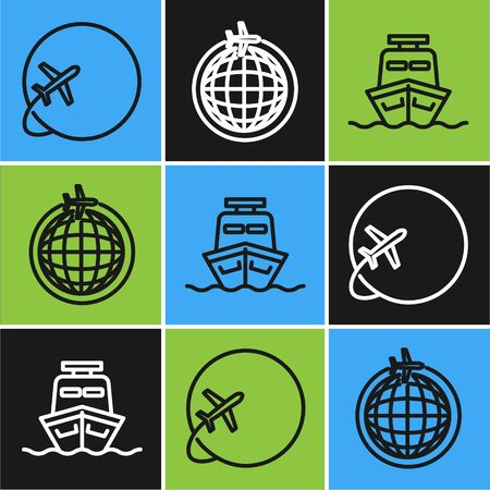 Set line Globe with flying plane, Ship and Globe with flying plane icon. Vector Illusztráció