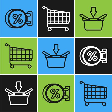 Set line Signboard hanging with an inscription discount percent, Shopping basket and Shopping cart icon. Vector
