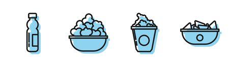Set line Popcorn in cardboard box, Bottle of water, Popcorn in bowl and Nachos in plate icon. Vector Ilustração