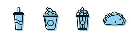 Set line Popcorn in cardboard box, Paper glass with drinking straw and water, Popcorn in cardboard box and Taco with tortilla icon. Vector