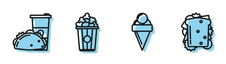 Set line Ice cream in waffle cone, Paper glass and taco with tortilla, Popcorn in cardboard box and Sandwich icon. Vector Ilustração