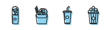 Set line Paper glass with drinking straw and water, Doner kebab, Asian noodles in paper box and chopsticks and Popcorn in cardboard box icon. Vector