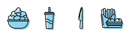 Set line Knife, Popcorn in bowl, Paper glass with drinking straw and water and Burger and french fries in carton package box icon. Vector Ilustração