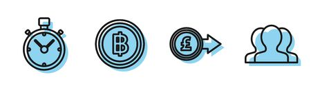 Set line Coin money with pound sterling symbol, Stopwatch, Cryptocurrency coin Bitcoin and Users group icon. Vector Ilustração