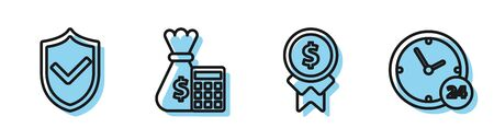 Set line Reward for good work, Shield with check mark, Calculator with money bag and Clock 24 hours icon. Vector