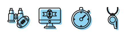 Set line Stopwatch, Binoculars and american football ball, American football on tv program and Whistle icon. Vector Foto de archivo - 135383430