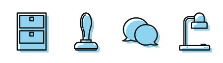Set line Speech bubble chat, Archive papers drawer, Stamp and Table lamp icon. Vector