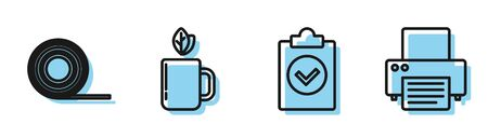 Set line Completed task, Scotch, Cup of tea and leaf and Printer icon. Vector