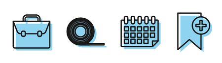 Set line Calendar, Briefcase, Scotch and Bookmark icon. Vector