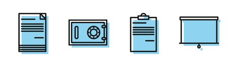 Set line Document, Document, Safe and Chalkboard icon. Vector