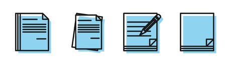 Set line Blank notebook and pencil with eraser, File document, File document and File document icon. Vector Illustration