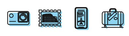 Set line Smartphone with electronic boarding pass airline ticket, Action extreme camera, Postal stamp and Coliseum and Suitcase for travel and stickers icon. Vector