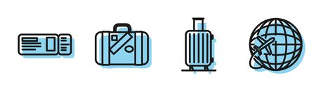 Set line Suitcase for travel, Travel ticket, Suitcase for travel and stickers and Globe with flying plane icon. Vector