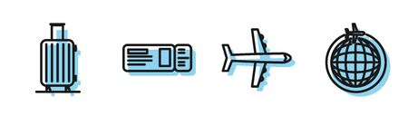 Set line Plane, Suitcase for travel, Travel ticket and Globe with flying plane icon. Vector