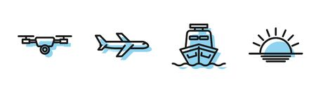 Set line Ship, Drone flying with action video camera, Plane and Sunset icon. Vector Illusztráció