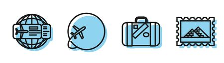 Set line Suitcase for travel and stickers, Airline ticket, Globe with flying plane and Postal stamp and Egypt pyramids icon. Vector