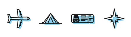 Set line Cruise ticket for traveling by ship, Plane, Tourist tent and Wind rose icon. Vector