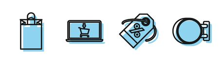 Set line Discount percent tag, Paper shopping bag, Shopping cart on screen laptop and Signboard hanging icon. Vector