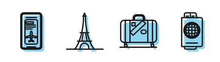 Set line Suitcase for travel and stickers, Smartphone with electronic boarding pass airline ticket, Eiffel tower and Passport with ticket icon. Vector