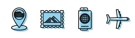 Set line Passport with ticket, Map pointer with Coliseum in Rome, Italy, Postal stamp and Egypt pyramids and Plane icon. Vector