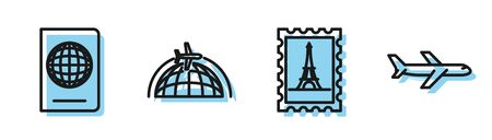 Set line Postal stamp and Eiffel tower, Passport with biometric data, Globe with flying plane and Plane icon. Vector
