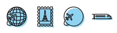Set line Globe with flying plane, Globe with flying plane, Postal stamp and Eiffel tower and Train icon. Vector Illusztráció