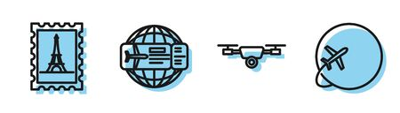 Set line Drone flying with action video camera, Postal stamp and Eiffel tower, Airline ticket and Globe with flying plane icon. Vector Illusztráció