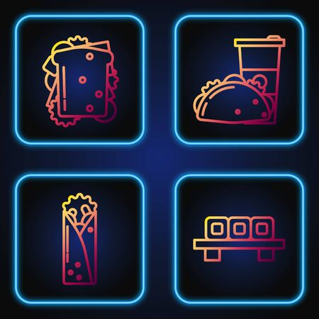 Set line Sushi on cutting board, Doner kebab, Sandwich and Paper glass and taco with tortilla. Gradient color icons. Vector Vectores