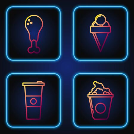 Set line Popcorn in cardboard box, Paper glass and water, Chicken leg and Ice cream in waffle cone. Gradient color icons. Vector