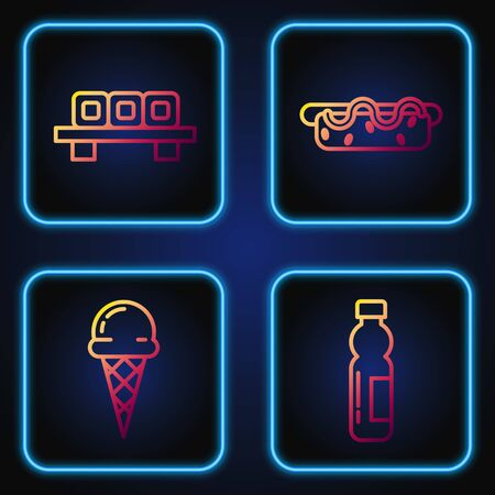 Set line Bottle of water, Ice cream in waffle cone, Sushi on cutting board and Hotdog sandwich with mustard. Gradient color icons. Vector Vetores