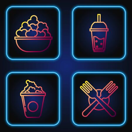 Set line Crossed fork, Popcorn in cardboard box, Popcorn in bowl and Glass of lemonade with drinking straw. Gradient color icons. Vector
