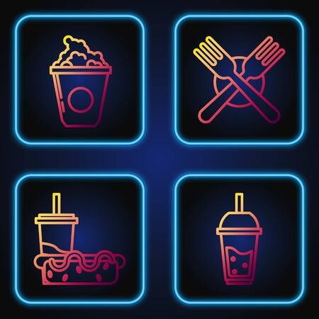 Set line Glass of lemonade with drinking straw, Paper glass with drinking straw and hotdog, Popcorn in cardboard box and Crossed fork. Gradient color icons. Vector