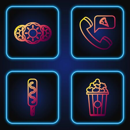 Set line Popcorn in cardboard box, Ice cream, Donut with sweet glaze and Food ordering pizza. Gradient color icons. Vector Ilustração