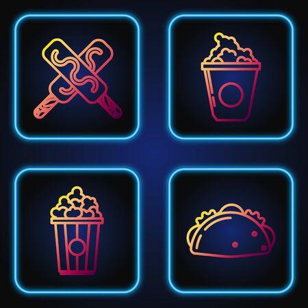 Set line Taco with tortilla, Popcorn in cardboard box, Ice cream and Popcorn in cardboard box. Gradient color icons. Vector Ilustração