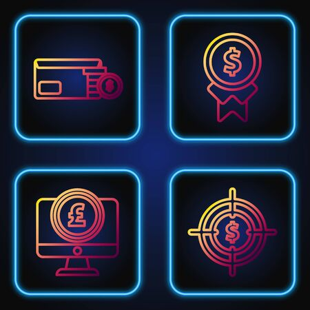 Set line Target with dollar symbol, Computer monitor with pound sterling symbol, Envelope with coin dollar symbol and Reward for good work. Gradient color icons. Vector