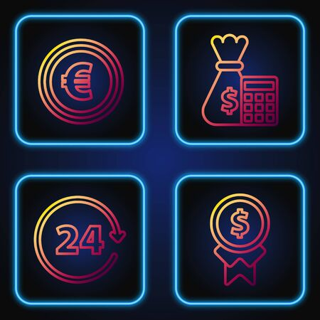 Set line Reward for good work, Clock 24 hours, Coin money with euro symbol and Calculator with money bag. Gradient color icons. Vector