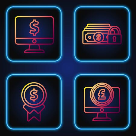 Set line Computer monitor with pound sterling symbol, Reward for good work, Computer monitor with dollar symbol and Money with lock. Gradient color icons. Vector