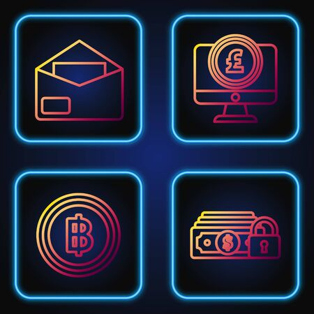 Set line Money with lock, Cryptocurrency coin Bitcoin, Envelope and Computer monitor with pound sterling symbol. Gradient color icons. Vector