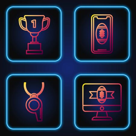 Set line American football on tv program, Whistle, Award cup and Smartphone with american football ball on the screen. Gradient color icons. Vector Foto de archivo - 135399333
