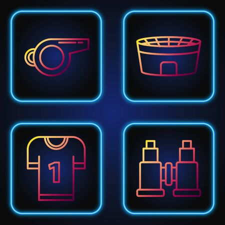 Set line Binoculars, American football jersey, Whistle and Football stadium. Gradient color icons. Vector Foto de archivo - 135399362