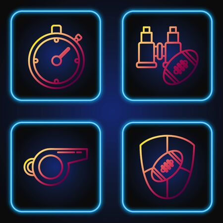 Set line American Football ball and shield, Whistle, Stopwatch and Binoculars and american football ball. Gradient color icons. Vector Foto de archivo - 135417467