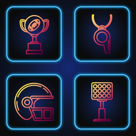Set line Bright stadium lights, American football helmet, Award cup and American football ball and Whistle. Gradient color icons. Vector Vector Illustratie